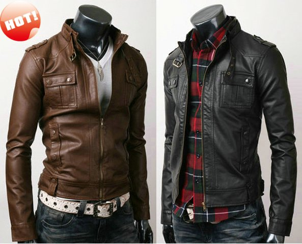 NWT Men's Punk Bomber Biker Motorcycle Slim Fit Faux PU Leather ...