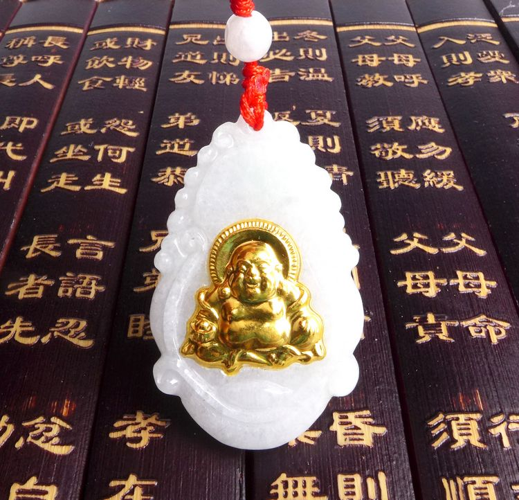 Long Yi Jade Buddha bless peace 5230 Kaiyun mascot accessories to help transport 8000361 long yi painted red lacquer carving pendant with rich fish car hongfu snake zodiac mascot 2000599 years