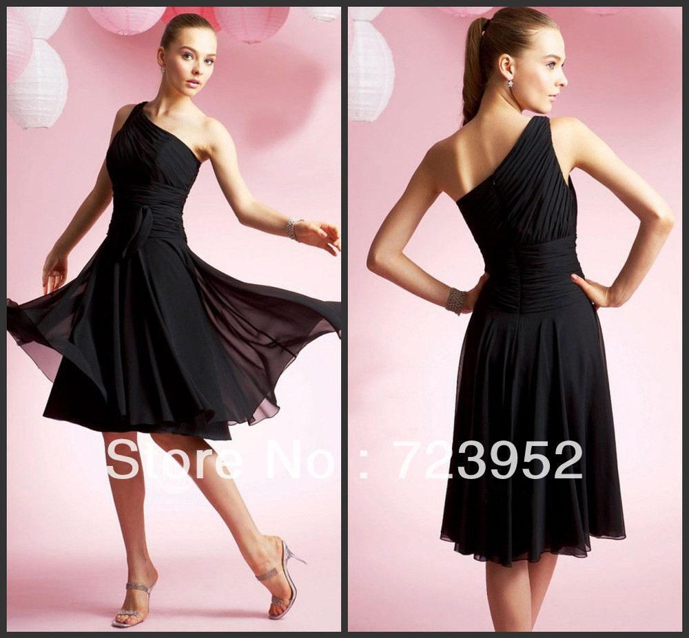 Bridesmaid dresses fuschia picture more detailed picture about free shipping fashion flowy lovely one shoulder black chiffon short bridesmaid dress ombrellifo Gallery
