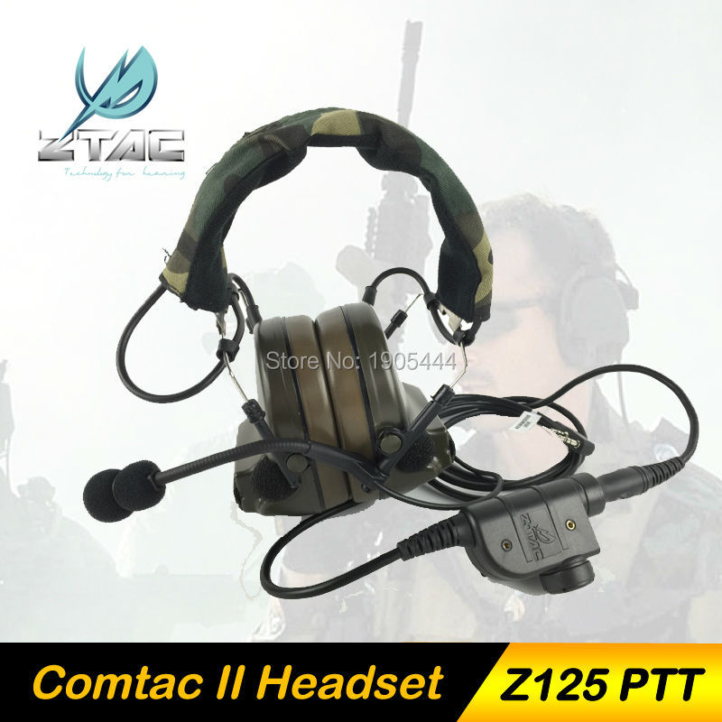 Z-Tac Headset Noise Reduction Canceling Electronic Comtac II Airsoft Gun Radio set Military Paintball with PTT kenwood Midland z tactical military headset headphone airsoft radio comtac ipsc od for ptt military radio z 111