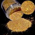 """1/128 """"Pequeño Brillo de Polvo Láser Holográfico Oro Nails Tips Uñas Hexágono Arte y Artesanías Brillo Deslumbrante N47"""