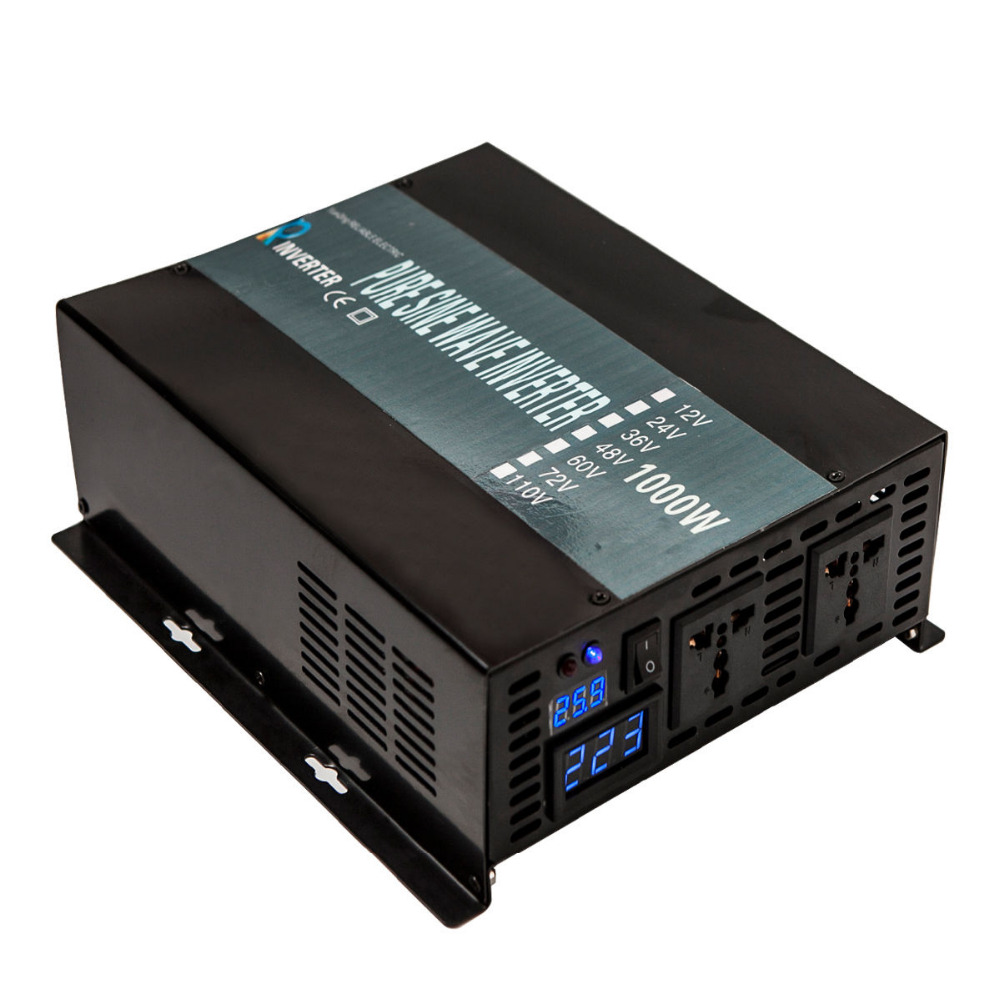 2000W Peak Off Grid 1000W Pure Sine Wave Solar Inverter 12V 220V DC to AC Power Inverter 12V/24V/48V to 120V/220V/240V Converter off grid pure sine wave 12v 24v to 100v 110v 120v 220v 230v 240v dc to ac inverter 1000w 12v 230v