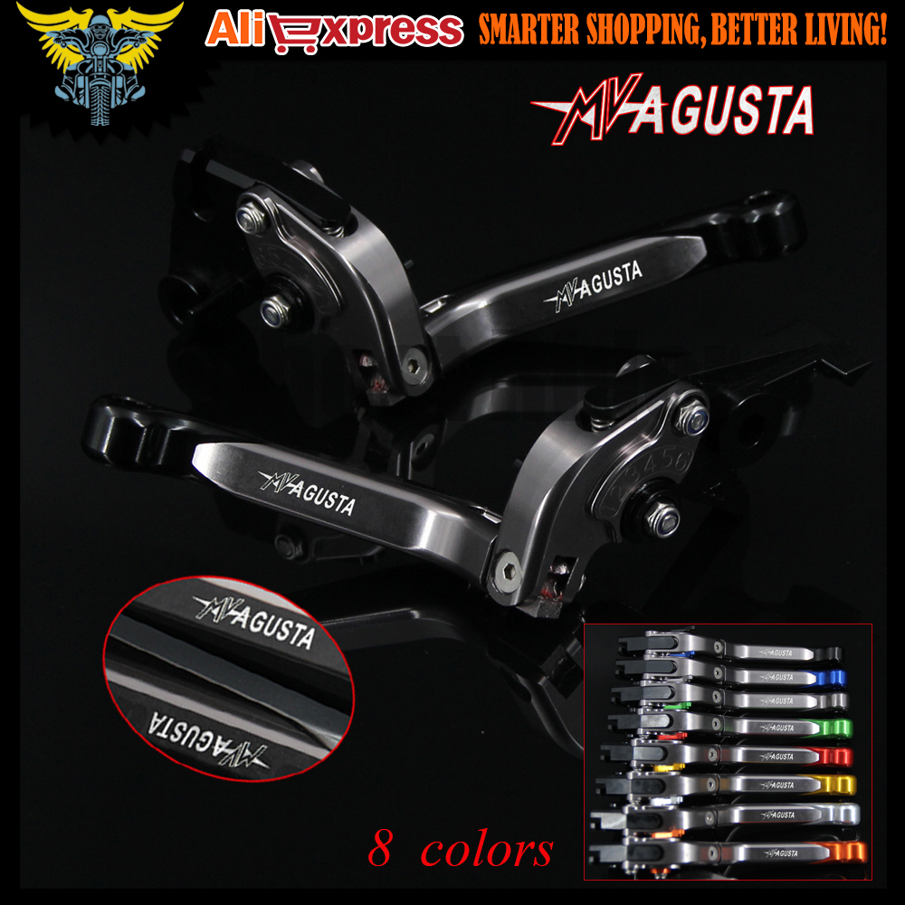 Red+titanium Adjustable Motorcycle Brake Clutch Levers For MV AGUSTA Brutale 800/RR 2014 2015 Shortys only w/ stock handguards цены