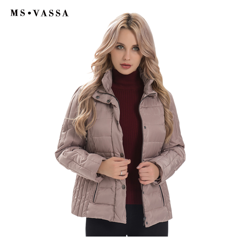 MS VASSA Women Jackets 2018 new Ladies   Parkas   Autumn Winter fashion Coats double stand up collar plus size 5XL 6XL outerwear