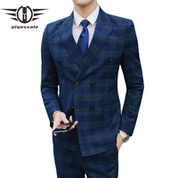 Plyesxale Double Breasted Suit Men Slim Fit Grey Navy Blue Mens Plaid Suits Classic Formal Dress Wedding 3 Piece Suit Man Q363