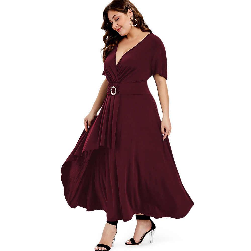Wipalo  Вечернее платье  с глубоким декольте и широким поясом, элегантное платье с запахом, макси, короткие рукава, платье с драпировкой
