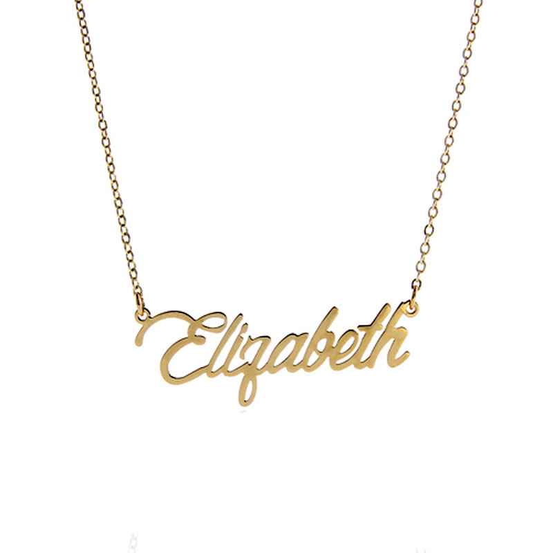 AOLOSHOW Name Necklace Letter  Elizabeth  Gold color Stainless Steel Nameplate Necklace Women Script Font Necklace ,NL-2381