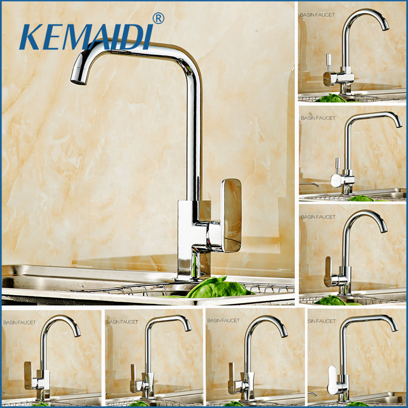 KEMAIDI Newly Design 360 Swivel Solid Brass Single Handle Mixer Sink Tap Down Chrome Kitchen Faucet hot and cold water torneira kitchen chrome plated brass faucet single handle pull out pull down sink mixer hot and cold tap modern design