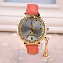 New Fashion & Casual Luxury Watch Women Leather Watches clock female Eiffel Tower Dress Quartz Watches