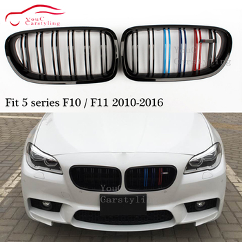 2-slat M couleur ABS Grille pour BMW série 5 F10 F11 rein avant pare-chocs Racing Grill remplacement 2010-2016 520i 523i 530i 535i