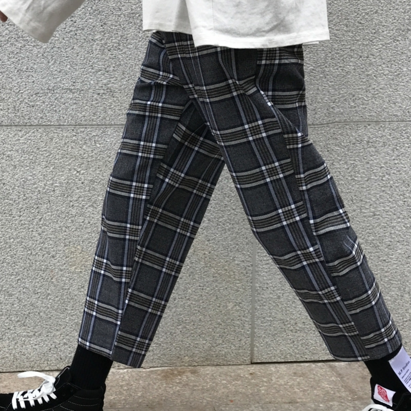 Summer New Plaid Pants Men Fashion Retro Straight Casual Nine Pants Man Streetwear Wild Hip Hop Loose Joggers Sweatpants M 2XL in Harem Pants from Men 39 s Clothing
