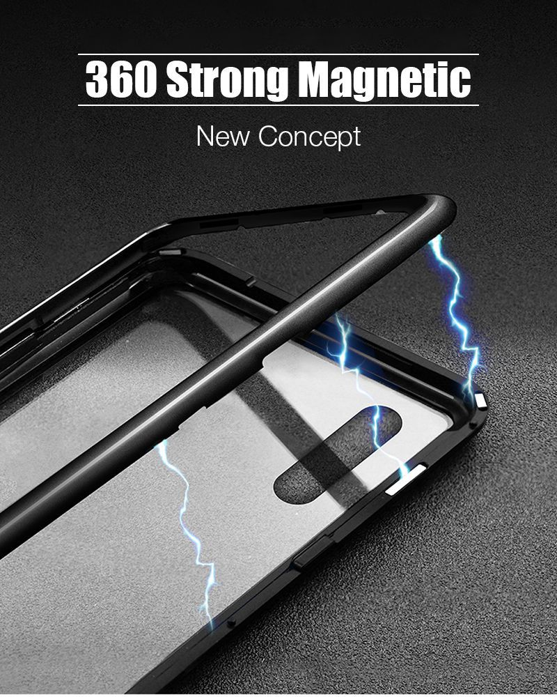 Hisomone Magnetic Adsorption Case For Huawei P20 Pro Luxury Aluminum Phone Glass Cover For Samsung Galaxy S9 S8 Plus Note 8 Case