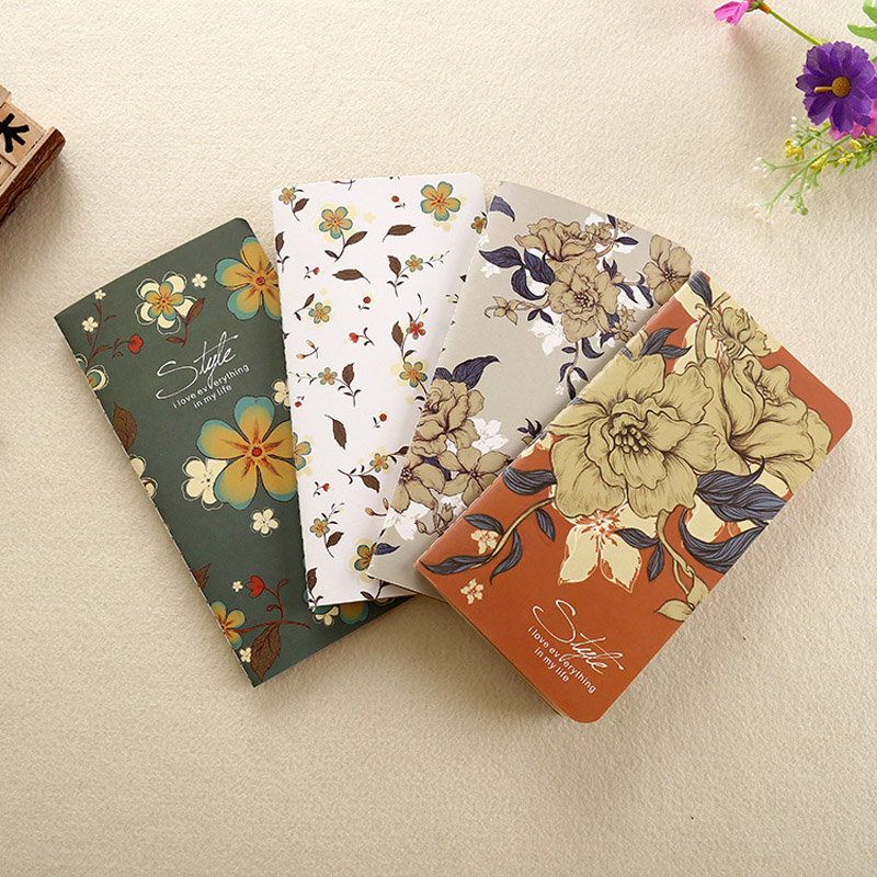 Vintage Flower Design Mini Notebook Diary Memos 48K Soft Copybook Paper Note Book for School Office Gift Promotion Stationery