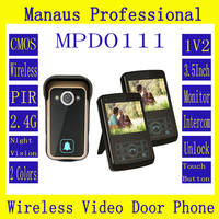 New Two Smart Home 3.5 '' Screen Video Door Phone,Remote Unlock 2.4GHz Video Digital Wireless Front Door Peephole Camera D111a