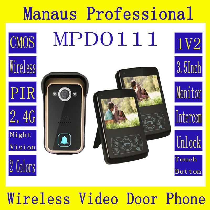 New Two Smart Home 3.5  Screen Video Door Phone,Remote Unlock 2.4GHz Video Digital Wireless Front Door Peephole Camera D111a