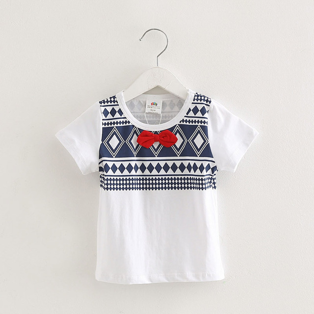 Print Summer 2016 Baby Boy T-Shirt Gentleman Cotton Bow Tie Boys T Shirt New Fashion Kids Clothes Toddler T Shirt 2-8 years