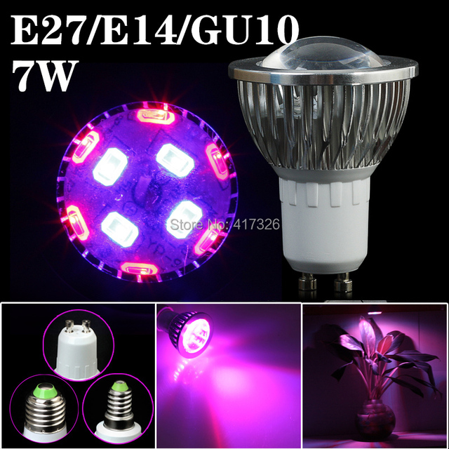 5pcs/Lot E27 E14 GU10 7W 6Red:4Blue SMD LED Grow Light Lamp for Flowering Plant and Hydroponics System 85-265V Free Shipping