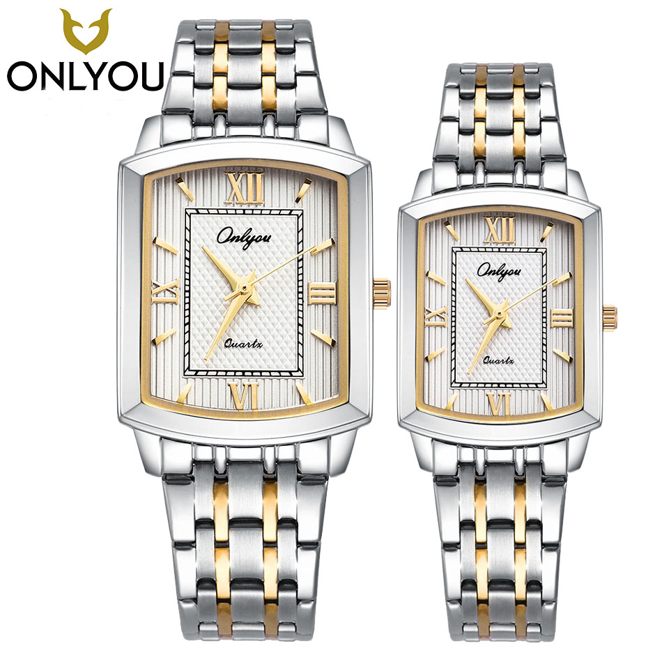 ONLYOU Lovers Watches Men Fashion Casual Square Quartz Clock Women Business Luxury Waterproof Stainless Steel Watch Wholesale onlyoubrand casual stainless steel band business couples watch quartz analog watches men s watch waterproof wholesale clock