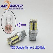 Amywnter T20 W21 5W 12V w16w led Dual Light Function WY21W LED Yellow White car Brake