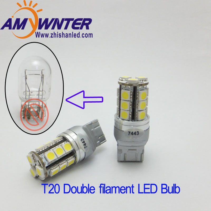 T20 7443 12V led Dual Light Function7444LED Gul Vit bil Bromsbelysning lampor Röd carro High Power Car Light Source 12v WY21W