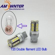 T20 7443 12 В светодио дный двойной свет Function7444 светодио дный цвет: желтый, Белый автомобиля стоп-сигналы красный Карро высокое Мощность Автомобильный источник света 12 В WY21W