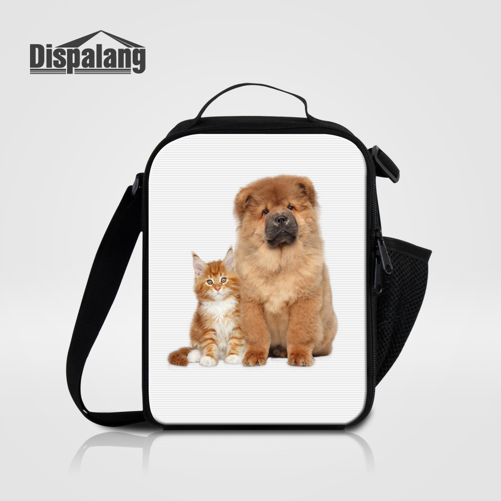 Dispalang Portable Insulated Lunch Bags For Kids Thermal Food Bolsa Termica 3D Cat Dog Animal Lunch Box Messenger Bag For School