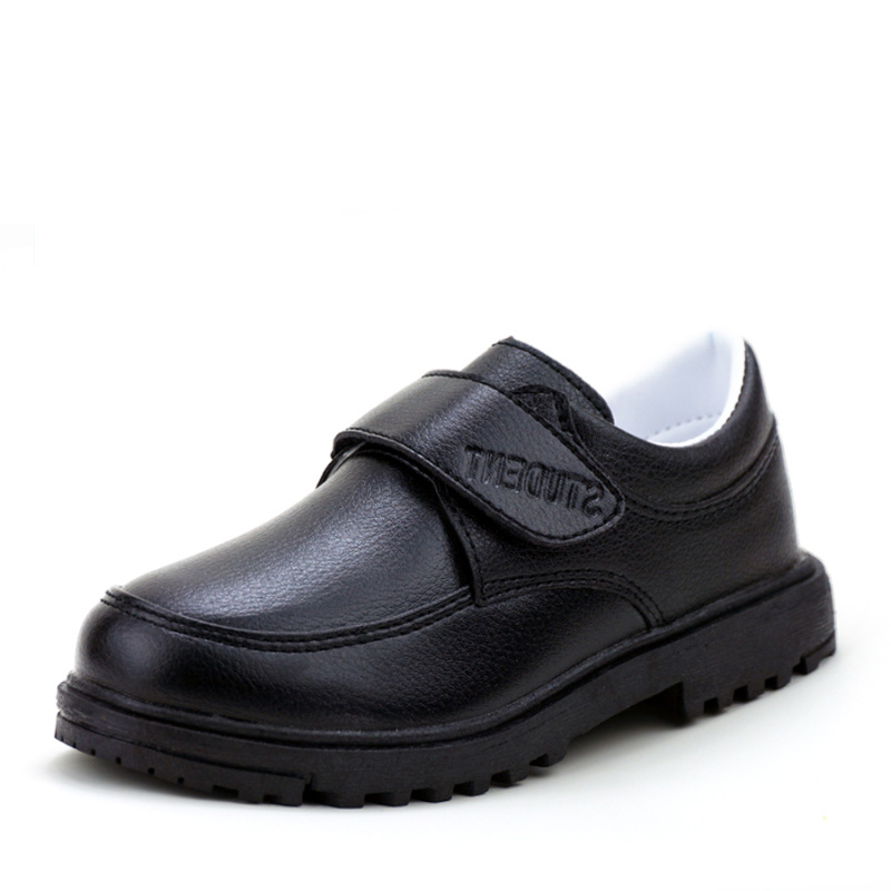 Autumn Winter Leather Boys Girls School Shoes Fashion Casual Children Shoes Breathable Boy Girl Warm Black Kids Toddler Footwear
