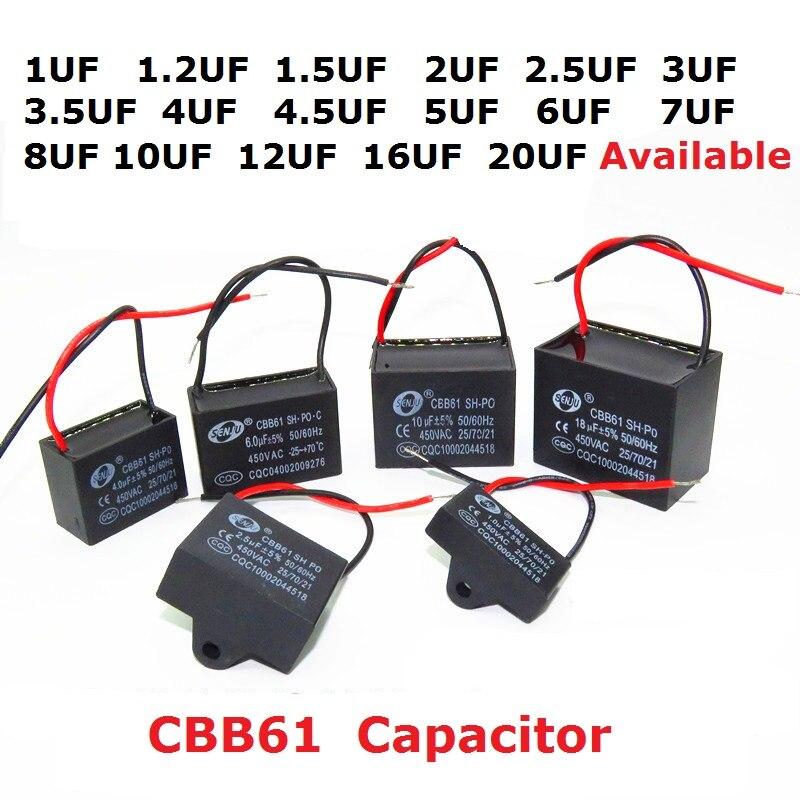 2PCS 450V 1uf 1.2uf 1.5uf 2uf 2.5uf 3uf 3.5uf 4uf 4.5uf 5uf 6uf 7uf 8uf 10uf 12uf 16uf 20uf CBB61 Fan Capacitor 450VAC