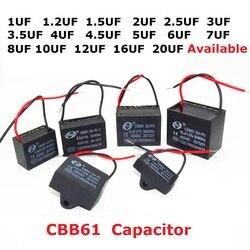 2 peças 450v 1uf 1.2uf 1.5uf 2uf 2.5uf 3uf 3.5uf 4uf 4.5uf 5uf 6uf 7uf 8uf 10uf 12uf 16uf 20uf cbb61 ventilador capacitor 450vac