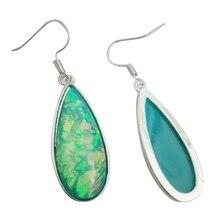 1 Pair Silver Marble Moonstone Turquoise Colored Glass Ear Stud Hook Dangle Wedding Jewelry Earrings Eardrop Accessories
