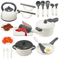 25Pcs Children Play & Pretend Toy Kitchen Cutting Chicken Cookware Kit Children Kitchen Pretend Play Toys White