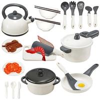 25Pcs Children Play & Pretend Toy Kitchen Cutting Chicken Cookware Kit Children Kitchen Pretend Play Toys White