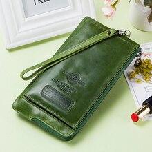 جلد طبيعي موضة محفظة طويلة المرأة حامل بطاقة تتفاعل محافظ للنساء سستة محفظة نسائية للعملات المعدنية الإناث حقيبة صغيرة