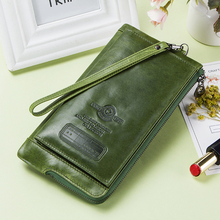 Clutch Bag Fashion Card Holder Wallet 2019 New Genuine Leather Female Long Wallets Women Zipper Strap Coin Purse For iPhone 8 nawo new oil wax leather women wallets new fashion ladies clutch purse long coin purse genuine leather card holder wallet luxury