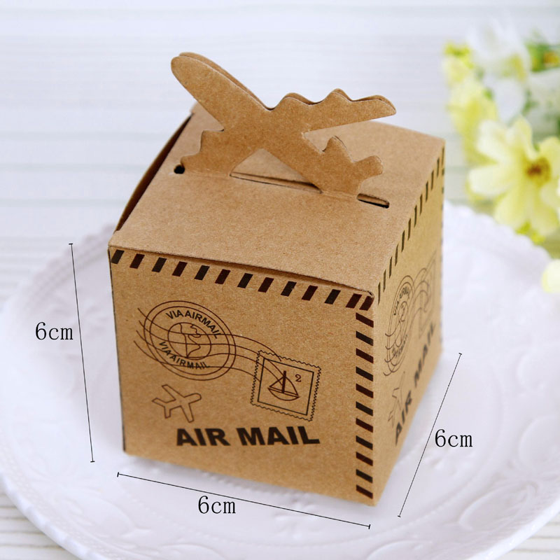 100pcs Kraft Paper Candy Box Travel Theme Vintage Favors Airplane Air Mail Baby Shower Gift Box Wedding Souvenirs scatole regalo