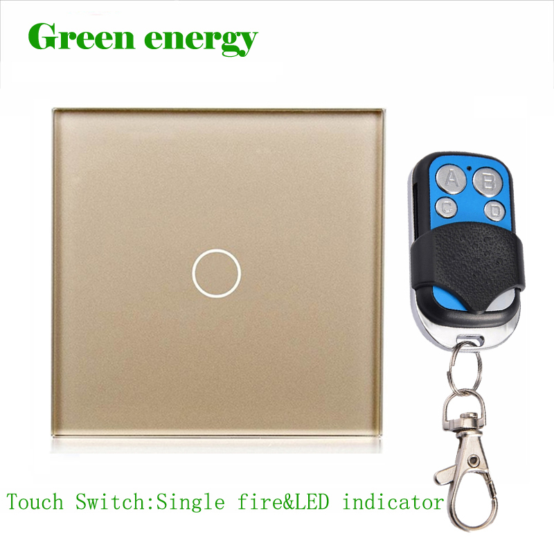Free Shipping,Luxury Golden Crystal Glass ,Wall Switch, Touch Switch, 1 Gang 1 Way 433 RF Remote Control Switch 2017 free shipping smart wall switch crystal glass panel switch us 2 gang remote control touch switch wall light switch for led