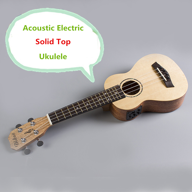 Solid Top Soprano Concert Acoustic Electric Ukulele 21 23 Inch Guitar 4 String Ukelele Guitarra Handcraft Picea Asperata Plug-in soprano concert tenor ukulele 21 23 26 inch hawaiian mini guitar 4 strings ukelele guitarra handcraft wood mahogany musical uke