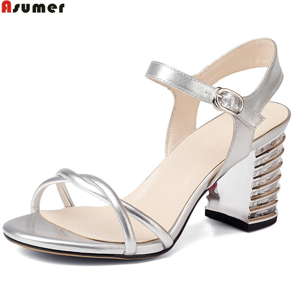 ASUMER pink silvery fashion square heel ladies summer shoes elegant buckle women genuine leather high heels sandals big size handmade genuine leather sandals women shoes lady high quality 2017 summer red silvery closed toe medium heels big size 10 41 42