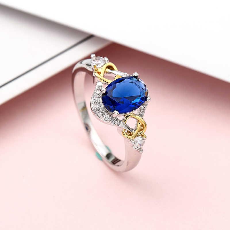 ใหม่หัวใจสีฟ้าคริสตัลแต่งงานแหวนทองคำขาว AAA Zircon แหวนหมั้นหญิง Anel Ellipse แหวน