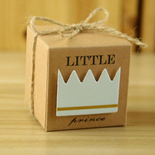 100Pcs Prince Princess Candy Box Kraft Paper Favor Baby Shower Decorations For Event Party Supplies Guests