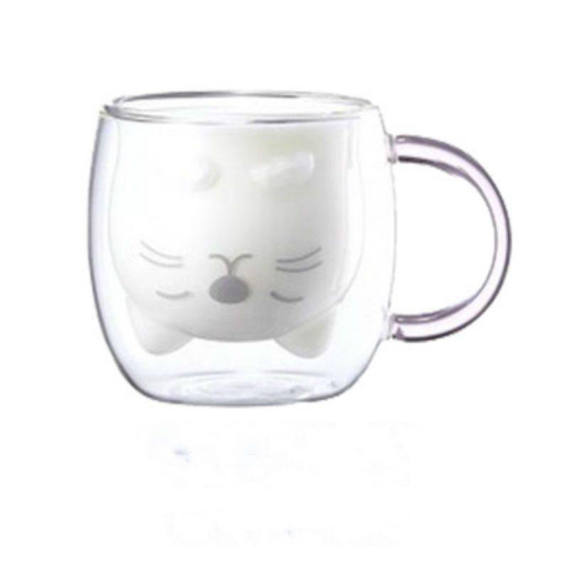 Soffe Cartoon Bear Design Double Wall Mug Office Creative Cold Drink Juice Tea Glass Bottle Travel Heat Resistant Coffee Mug