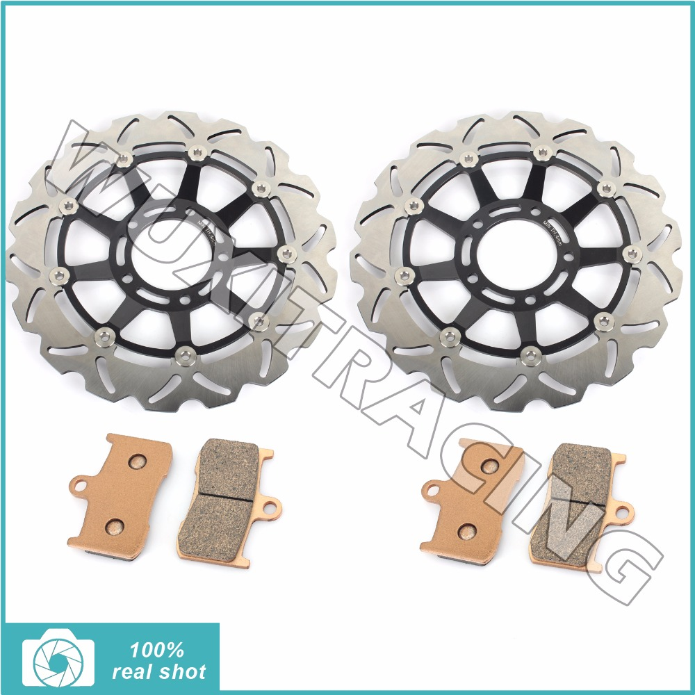 Front Brake Discs Disks Rotors Pads for Triumph Tiger 1050 07 08 09 10 11 12 13 14 TIGHT 1050 / SE / ABS 2011 2012 2013 New for triumph tiger 800 tiger 1050 tiger explorer 1200 easy pull clutch cable system