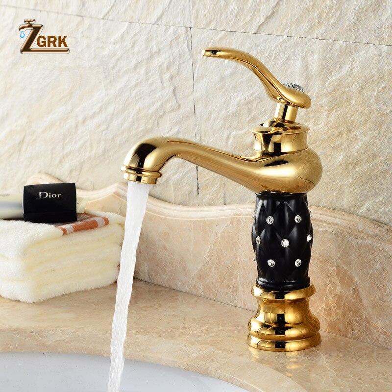 ZGRK robinets de bassin doré salle de bains évier robinet Design créatif cristal pont monté eau chaude et froide mitigeur monotrou robinets - 2