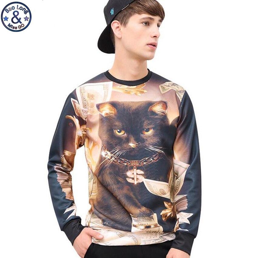 Mens Cool Cats Long Sleeves Thin Hooded Sweatshirt S Black