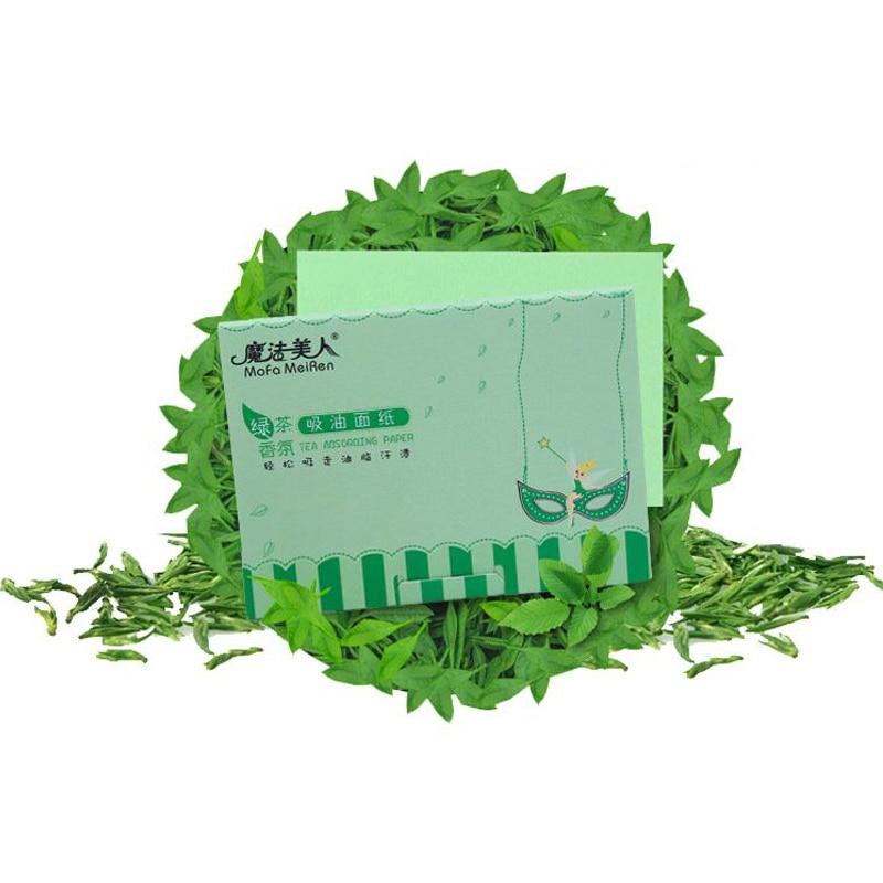 Facial Absorb Paper Green Tea Fragrance Woman Facial Natural Blue Facial Mask Beauty Tools 100 sheets/box muji japan 4 layers facial cotton pad 60 sheets x 2 box