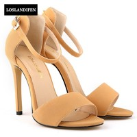 2017 New Fashion Elegant Straps High Heel Women Shoes Faux Suede Sexy Sandals For Female Zapatos