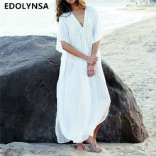 Bohemian Embroidered Bathing Sleeve Side Split Ankle Length 2019 Women  Summer Beach Dress Plus Size White Cotton Long Dress N630 7f447c258996