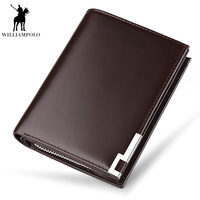 WILLIAMPOLO Luxury Brand Wallet Men Genuine Leather Purse Short Male Clutch Leather Wallet Card Holders Zipper Pocket PL218