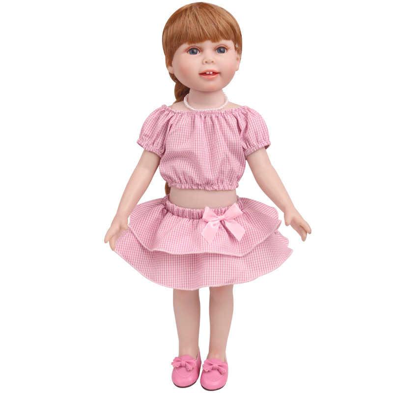 Куклы одежда 4 вида цветов плед костюм топ + многослойная юбка американское платье аксессуары подходят 43 см и 18 дюймов девушка c773