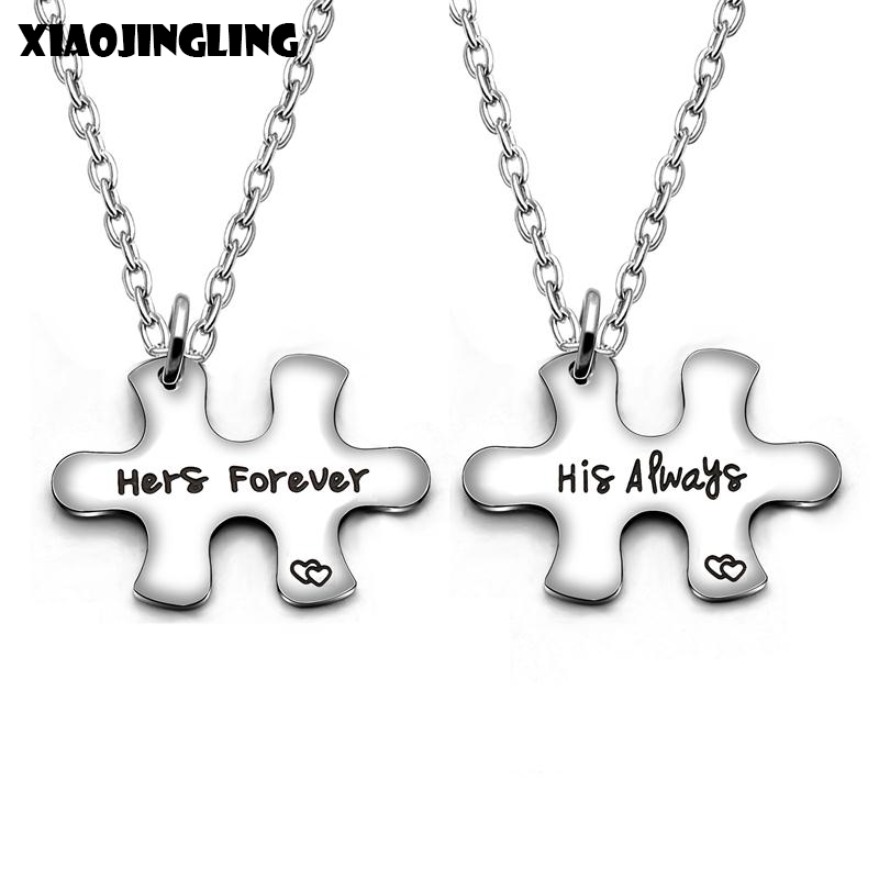 XIAOJINGLING 1 Pair Stainless Steel Couple Necklaces Puzzle Lovers' Necklace Link Chains Pendants & Necklaces Women Men Jewelry